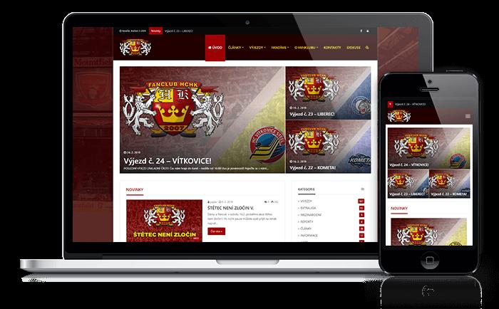 WordPress web reference Mirek Rohlíček Fanclub hradec králové