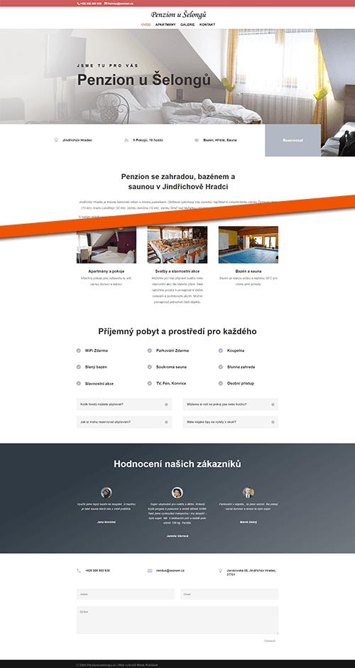 Penzion u Šelongů web reference homepage