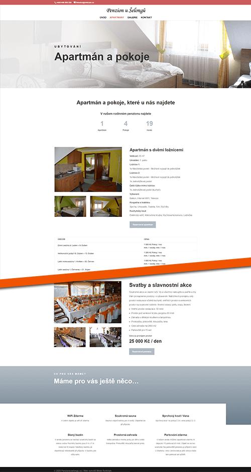 Penzion u Šelongů web reference layout pokoje