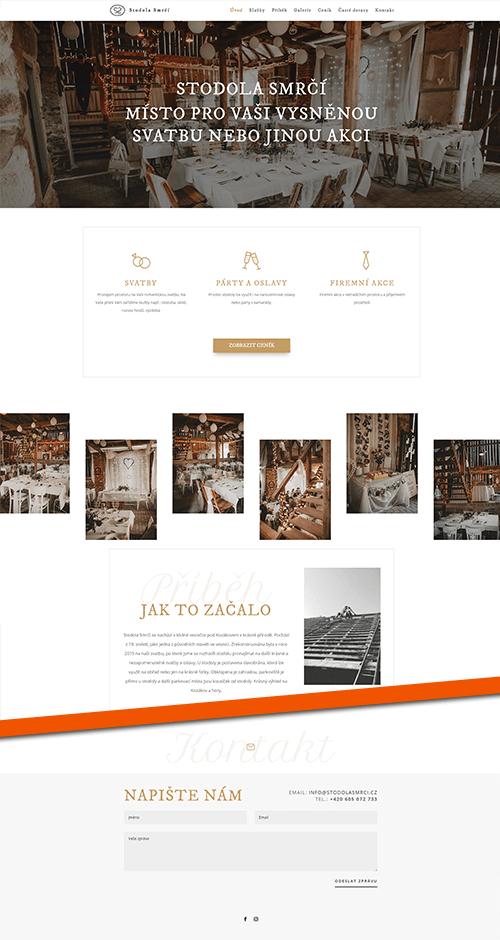Stodola Smrčí web reference layout homepage