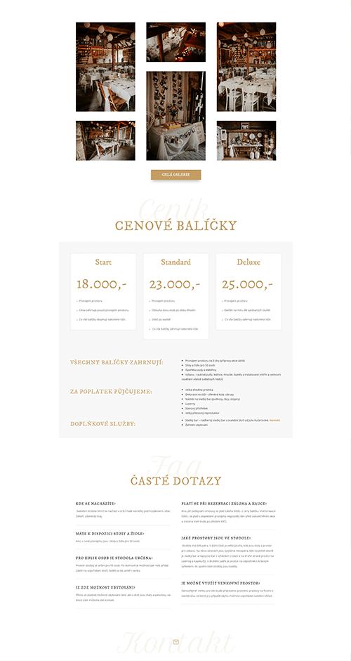 Stodola Smrčí web reference layout ceník a časté dotazy