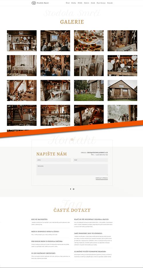 Stodola Smrčí web reference layout galerie a kontakt