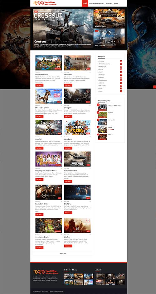 Herní Zóna web reference layout homepage