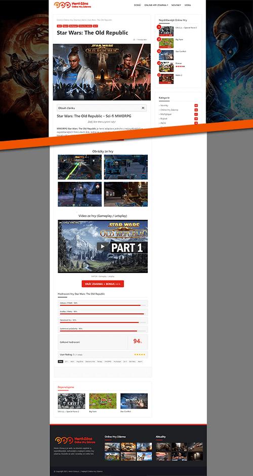 Herní Zóna web reference layout online hra kategorie